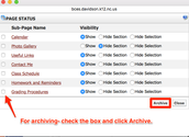 Page Status is where you Archive or Hide/Show Pages