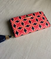 Mercer Zip Wallet- navy/red medallion