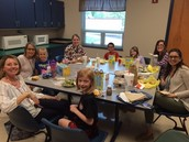 First grade teachers hosted a lunch for Fish Bowl auction winners