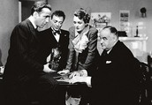 Sam Spade, Joe Cairo Brigid O'Shaughnessy and Gutman