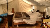 Our really posh king bed at Glacier Under Canvas