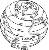 Map of latitude lines