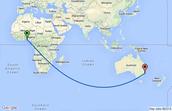 Australia to South America