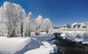 Lake Bordered With Snow