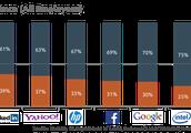 Top companies gender percentages.