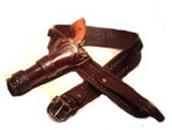 Leather Western Cowboy High Rider Gunbelt with Single Side Holster