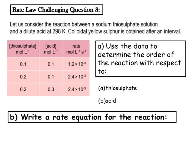 determining the rate equation of a reaction essay The determination of a rate equation aim --- the purpose of this experiment is to develop a method to determine the rate equation for the reaction between magnesium ribbon and 20mol dm.