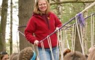 Mrs. Kesler on the rope bridge