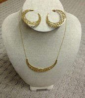 Avalon crescent necklace and crescent hoops set - gold $35