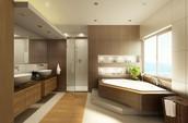 2 bathrooms + powder room
