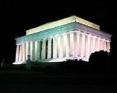 The memorial at night