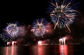 Fire works over the mill pond