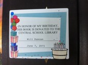 Birthday Book Dedication Label