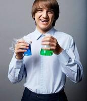 Jack holding beakers