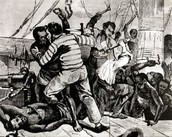 Image of a slave revolt aboard a slave ship during the middle passage.