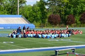 Students gathered together before the Track Meet
