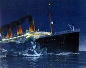titanic crashing into an iceberg