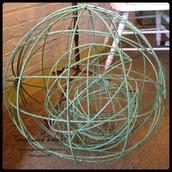 Set of Rustic Iron Garden Orbs: $115.50