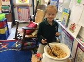 Stirring the applesauce!