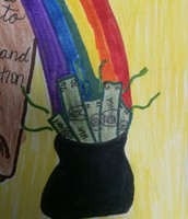 Pot of money at the end of the rainbow symbolism