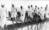 Gandhi walking to the sea