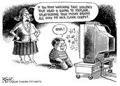 A comic depicting how TV and the Media can desensitize humans to violence