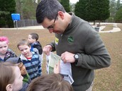 A Park Ranger visits with Mrs. Bruce's class