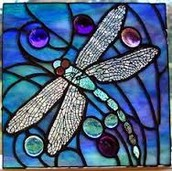 A beautiful stained glass dragonfly