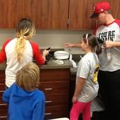 Watching pancake being cooked!