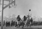 Some friendly competition of basketball with the other Japanese-Americans