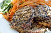 CAMPFIRE GRILLED PORK CHOPS WITH SWEET POTATO FRIES