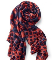 Union Scarf- Marine Blue-Rich Red Ikat