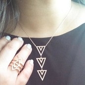 Pave spear rose gold necklace