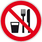 Verboden voor eten en drinken