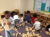 Kindergartners learn to sort and pick up