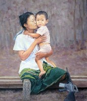 Burma woman with her child
