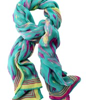Palm Springs scarf, turquoise ikat- $25