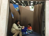 Mrs. Gentzel enjoying lunch in the Tree house with her buddy!