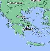 Athens is located beneath Greece