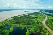 Amazon River in land from Atlantic Coast