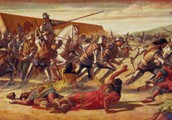 Francisco Pizarro and Incas Fighting