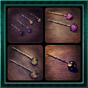 Hand made fused glass hair pins