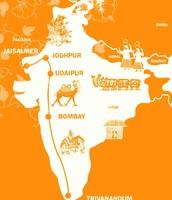 El mapa de su viaje a la India