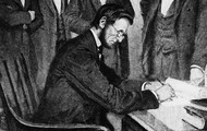 Lincoln sign a paper to free slaves