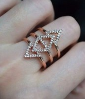 Pave Spear Ring Rose Gold Size M/L