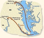 The route the British took to burn down Washington!