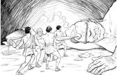 Odysseus and his men challenge the Cyclops.