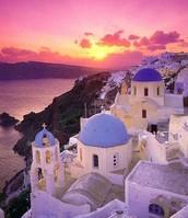 Go see the veiws in Santorini, Greece.