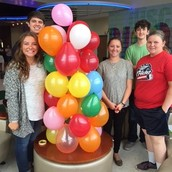 Juniors with their balloon tower