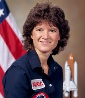 A picture of Sally Rides in while she was working in NASA.